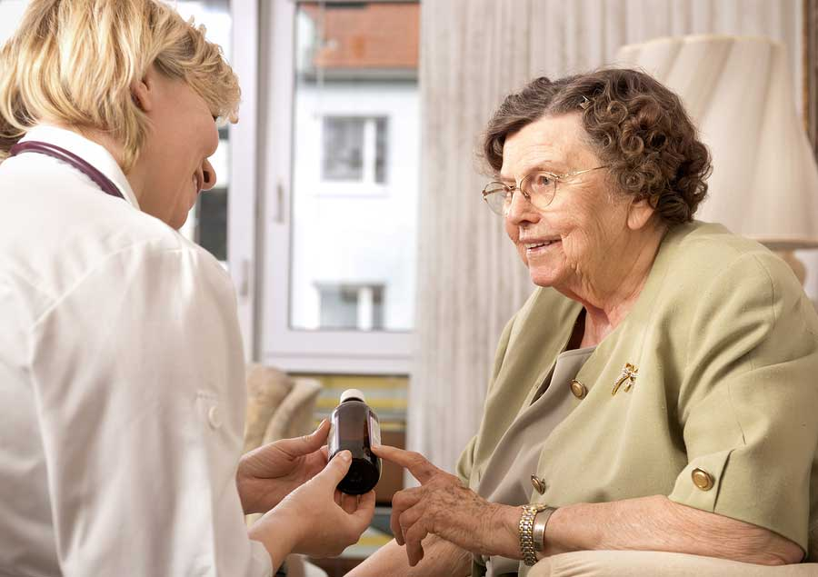 Patient receiving advice about medication