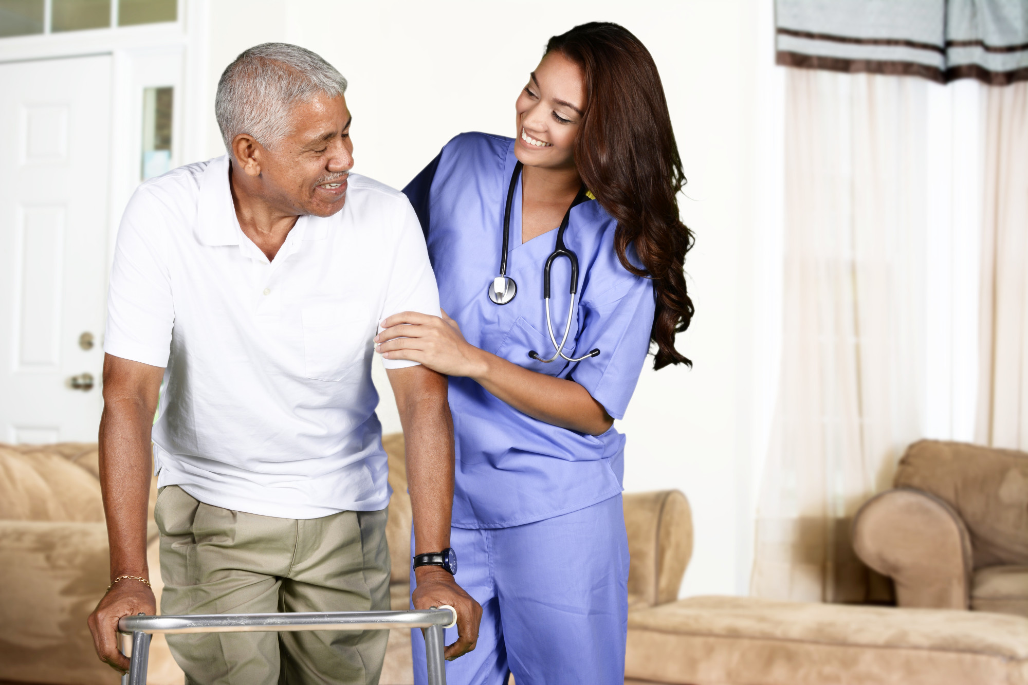 Home Health Care Worker and Elderly Man